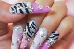 Zebra print gyaru nails