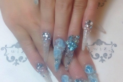 Icy blue gyaru nails