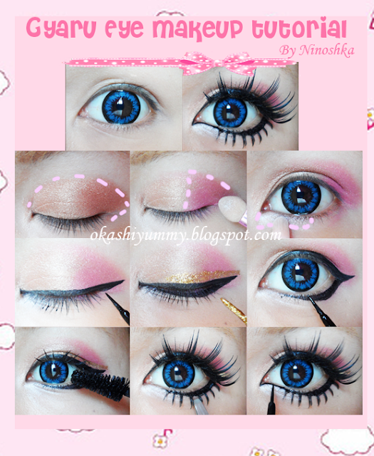Gyaru eye makeup tutorial by Okashiyummy