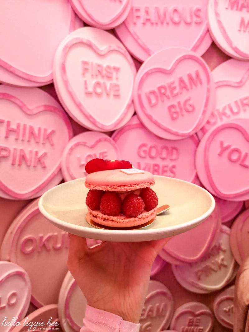 Rose macaron dessert, pink cafe
